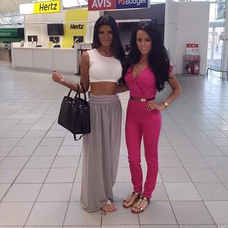 skirt pink boutique grey maxi skirt jersey