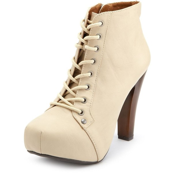 Lace-Up Platform Heel Bootie - Charlotte Russe - Polyvore