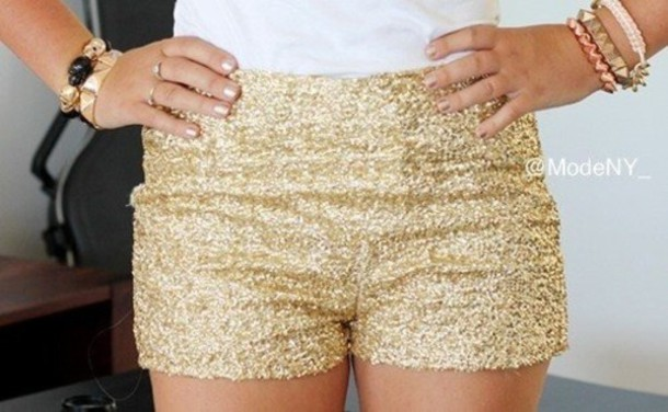 Shorts: clothes, gold sequins, gold, high waisted shorts, glitter ...