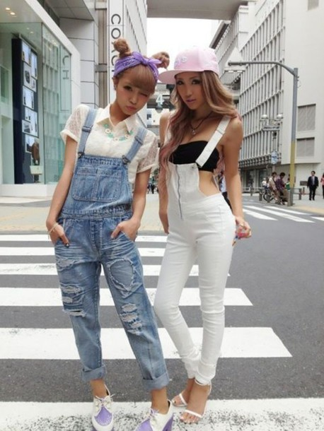 jumpsuit white kawaii japanese fashion