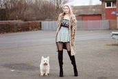 kayla hadlington,blogger,coat,animal print,mini skirt,thigh high boots,skirt,shoes,top,fur leopard print winter coat,tights,over the knee boots,black boots