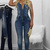 Blue Backless Button Up Acid Wash Sleeveless Denim Jumpsuit