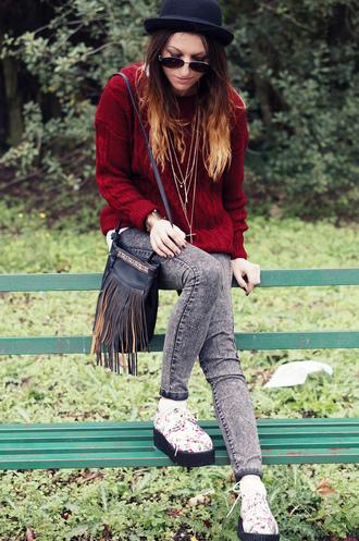 sweater romwe jumper wine-red