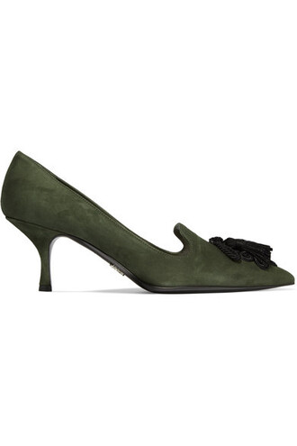 suede pumps embellished pumps suede green army green shoes