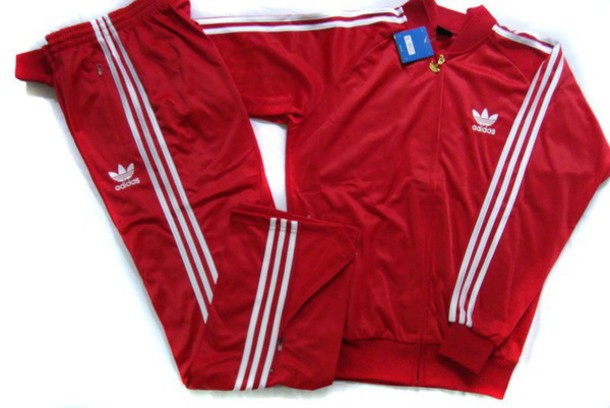 all red adidas tracksuit