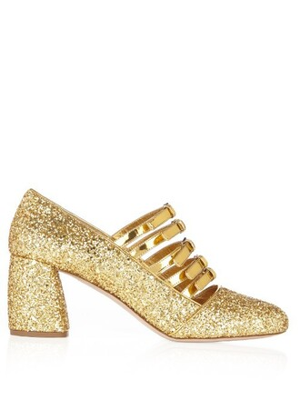 glitter high pumps gold shoes