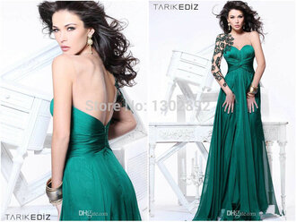 one shoulder aliexpress.com prom dress long evening gown backless green women dresses