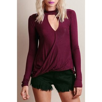 shirt top burgundy zaful classy halter top wrap dress burgundy top