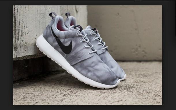shoes nike roshe runs wolfgrey black white marble