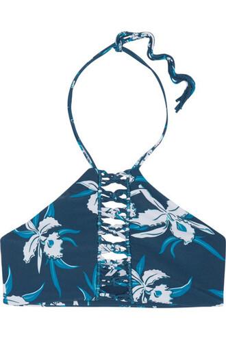 bikini bikini top denim floral print swimwear