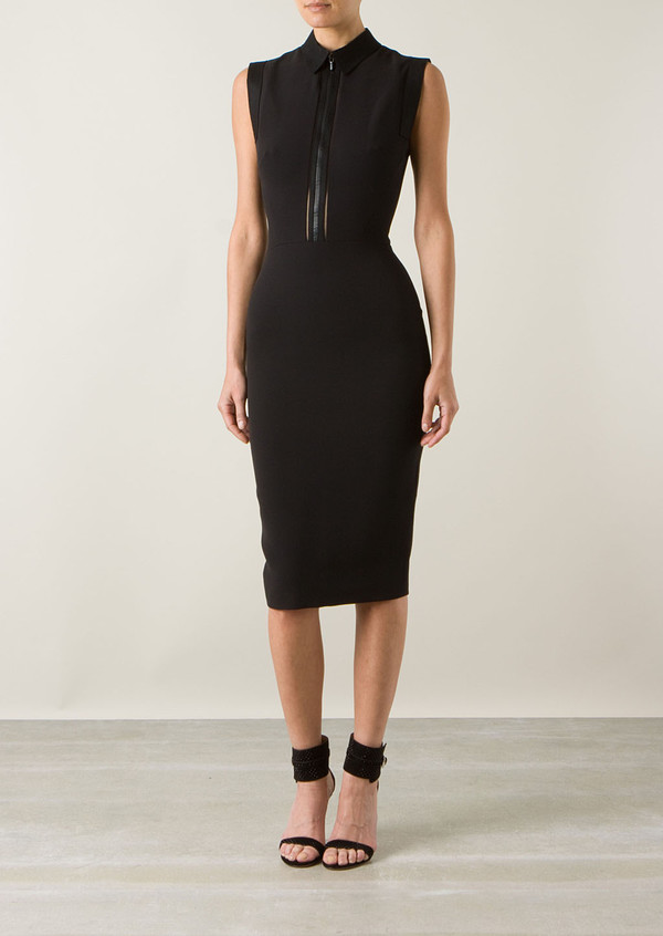 dress victoria beckham black wool and silk dress