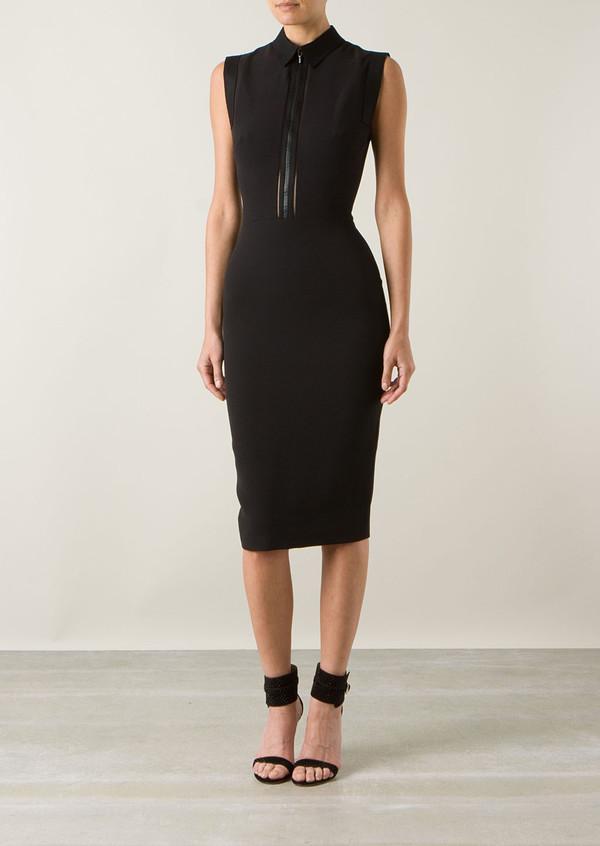 dress victoria beckham black wool and silk dress