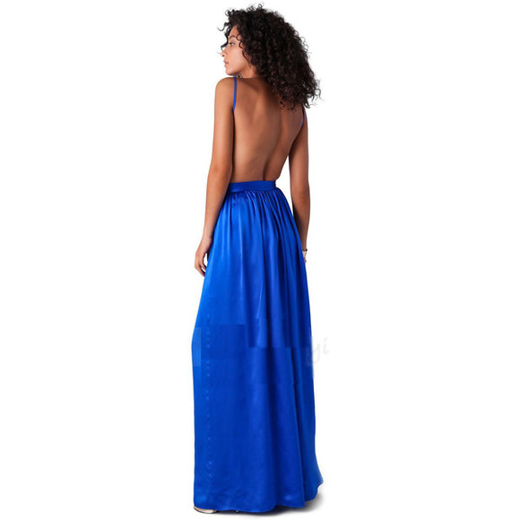 dress long dress prom dress maxi dress homecoming dress special occasion dress backless low cut blue