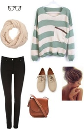 sweater,bag,purse,skinny jeans,pants,college,brown leather bag,leather saddle bag,saddle bag,brown bag,small leather bag,forever 21,scarf,brown,fall outfits,clothes,shoes,pretty little liars,white,green,oversized sweater,oxfords,stripes,leather,blue,jeans,tumblr clothes,sweater weather,winter sweater,infinity scarf,tumblr,pullover,pockets,shirt,crossbody bag,tumblr outfit,tumblr sweater,top,turquoise and white strips,cardigan,sweatshirt,striped sweater,blue and white