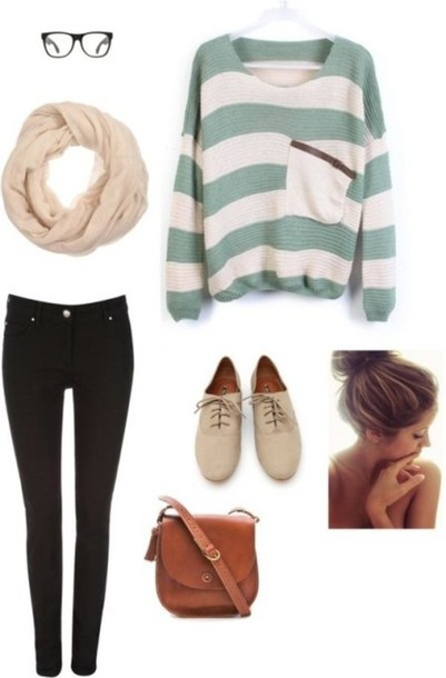 sweater bag purse skinny jeans scarf brown cool autumn clothes shoes white green oversized sweater blue