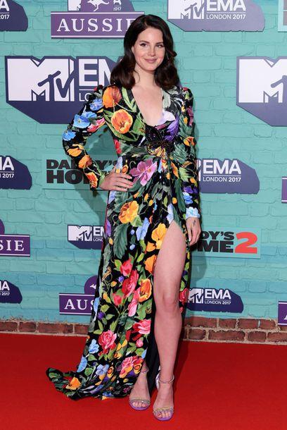 dress lana del rey floral floral dress sandals mtv ema awards slit dress gown
