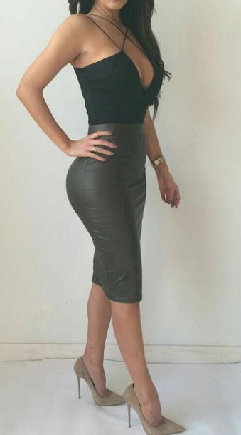 04bc3eeac6419f skirt, high waisted, black, high waisted black skirt, leather ...