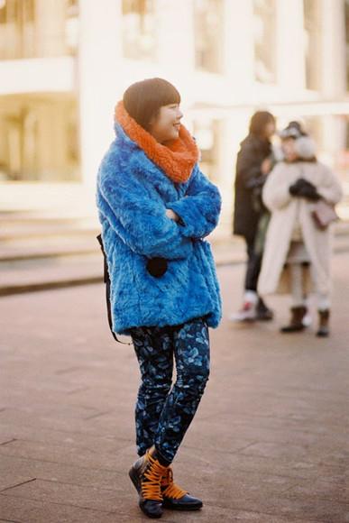 blogger orange vanessa jackman fluffy blue fur