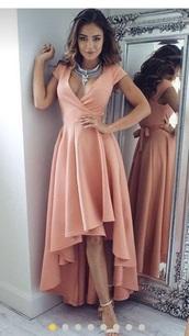 dress,peach dress,peach,salmon,long dress