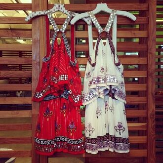 dress printed dress sequin dress sequins boho chic bohemian boho festival dress festival red dress racerback patterned dress mixed prints