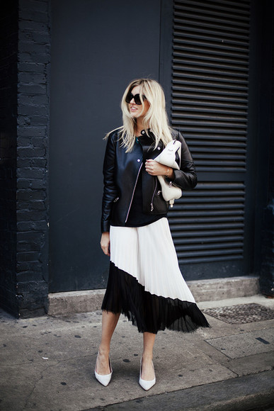 jacket perfecto blogger bag pleated skirt camille over the rainbow