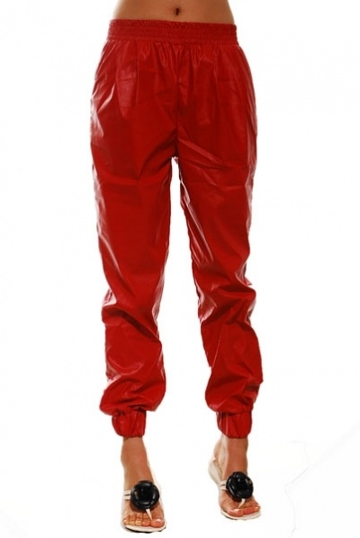 Red Faux Leather Joggers | In the Mixx Boutique