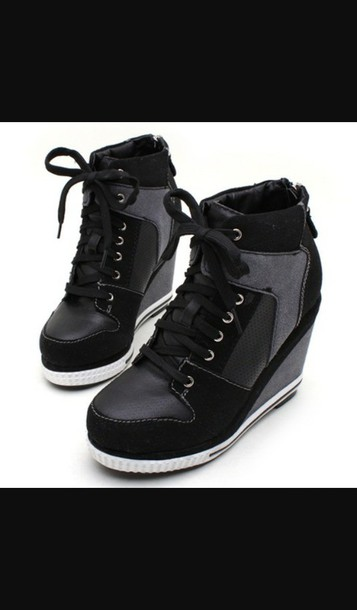 shoes sneaker heels black wedges boots booties shoes black heels laces