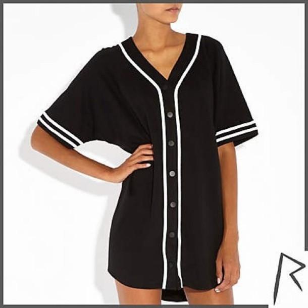 Blouse rihanna rivers island baseball jersey wheretoget for Baseball jersey shirt dress