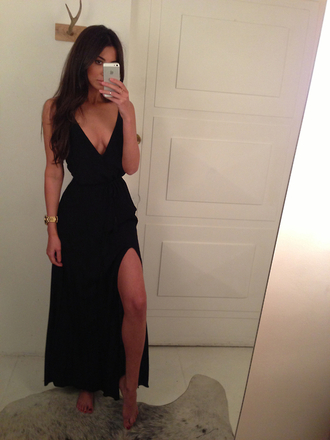 dress black maxi dress slit dress black dress maxi maxi dress low cut dress summer dress black little black dress prom dress long prom dress