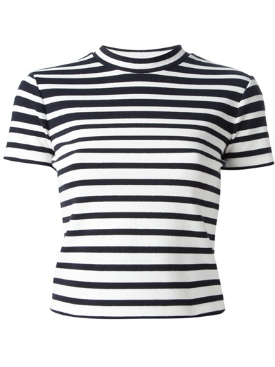 T By Alexander Wang Striped Crop T-shirt - Kirna Zabête - Farfetch.com