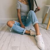 top,black and white striped,off the shoulder,crop tops,capped sleeves,high waisted jeans,ripped jeans,blue,jeans