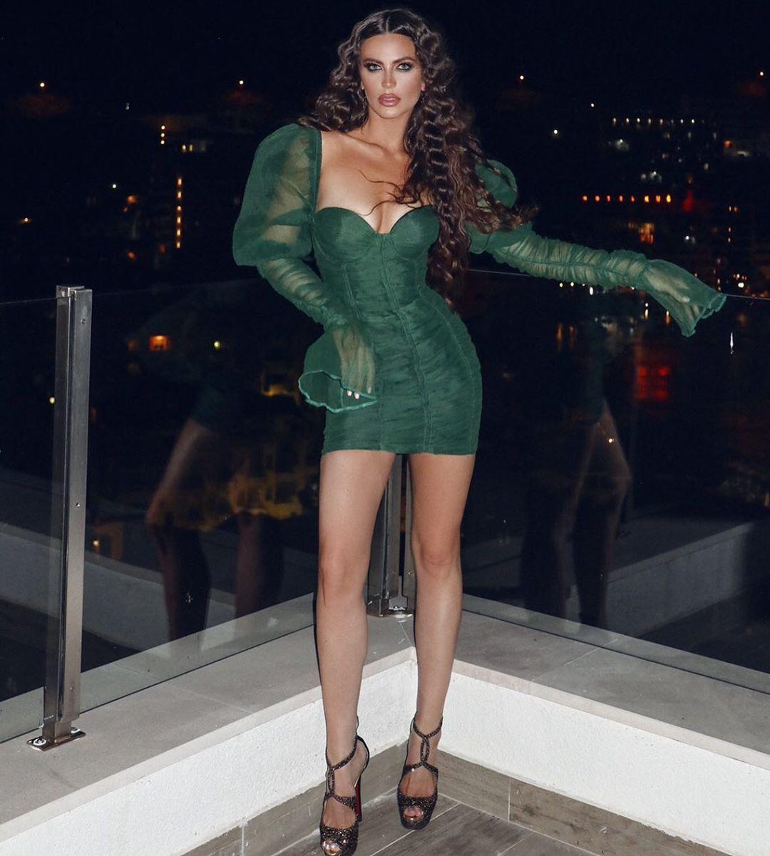 "Fashion Designer on Instagram: ""SO HOT @senoritamilica wearing #IVANJAKIC dark green dress"