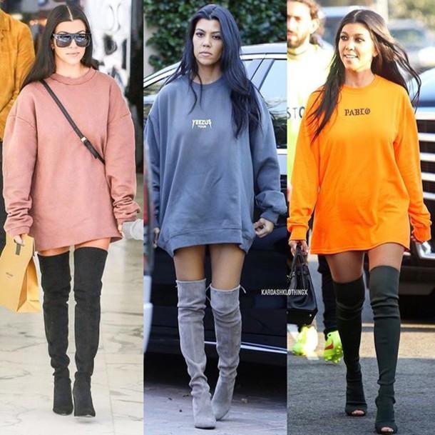 3acb760436a sweater kourtney kardashian sweater dress oversized sweater