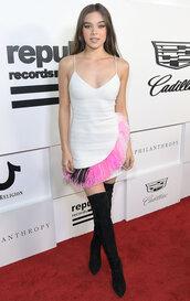 dress,hailee steinfeld,vma,mtv,boots,over the knee,mini dress,asymmetrical