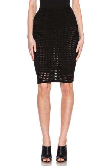 Alexander Wang Fitted Crochet Knit Pencil Skirt in Liquorice as seen on Kim Kardashian | Star Style Celebrity Fashion