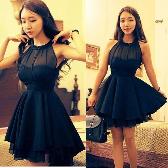 Women's irregular sheer chiffon party ball prom sleeveless short mini dress m
