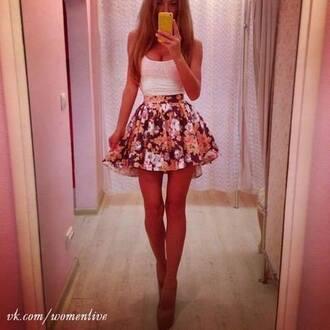 skirt white top flowered shorts