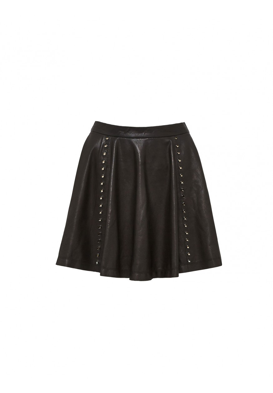 Akira flared leather skirt with gromets