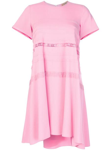 No21 dress sheer women spandex lace cotton purple pink