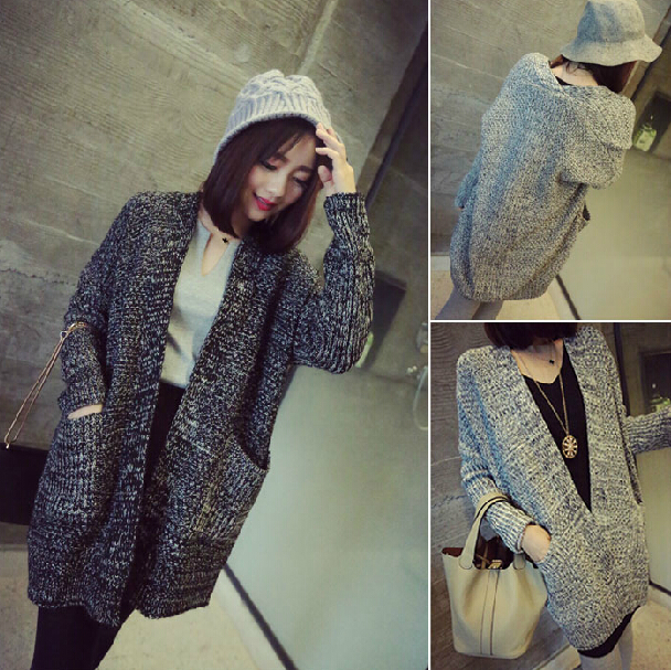 Designer Brand Casual Grey Knit Long Cardigan Coat With Pockets ...