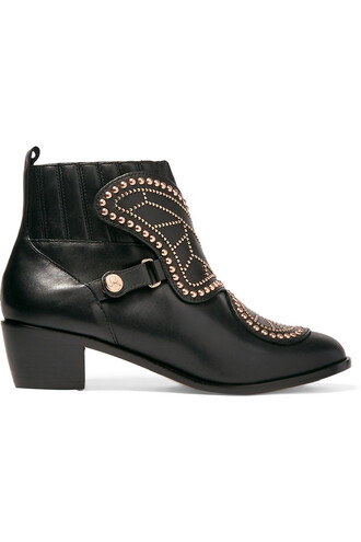 leather ankle boots studded butterfly boots ankle boots leather black shoes