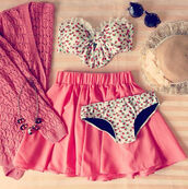 swimwear,bandeau,bikini,rose,floral,bow,cute,summer,skirt,sweater,sunglasses