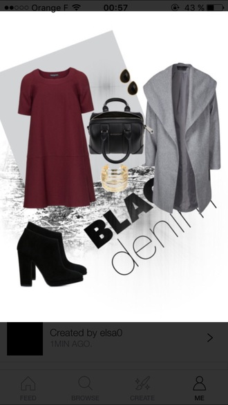 dress bordeaux red wine winter coat coat grey coat high heels boots fashion outfit poly
