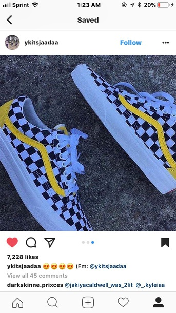 checkerboard vans with yellow stripe