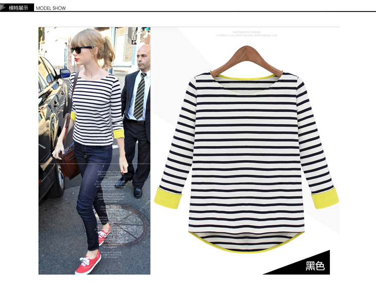 2014 New Fashion Autumn Women's Slim Striped Tee Brand Designer Ladies Sleeve O Neck 100% Cotton Taylor Swift Knited T Shirt-inT-Shirts from Apparel & Accessories on Aliexpress.com