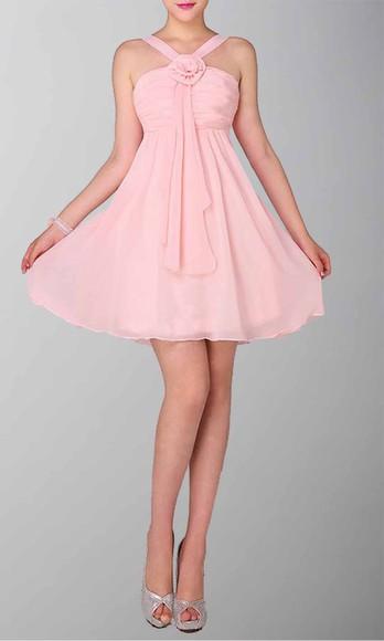 halter dress short party dresses short prom dress short bridemaid dresses pink dress empire waist dress cute dress
