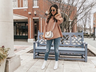 ohsoglam blogger sweater shoes jewels bag sunglasses crossbody bag ankle boots white boots winter outfits