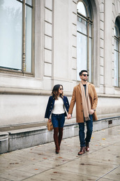 crystalin marie,blogger,sweater,jeans,jacket,shoes,bag,sunglasses,coat,scarf,jewels,fall outfits,menswear,mens coat,mens shoes,couple,madewell