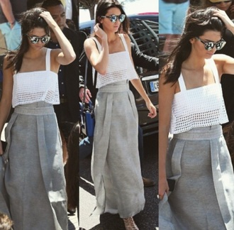 tank top kendall jenner skirt shoes top crop tops sandals maxi skirt sunglasses