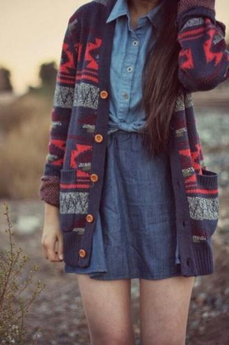 cardigan pattern motif bleu